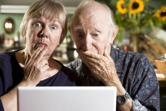 Seniors using a computer